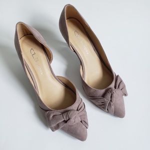 Chinese Laundry Suede Taupe D'Orsay Olga Knot Pump